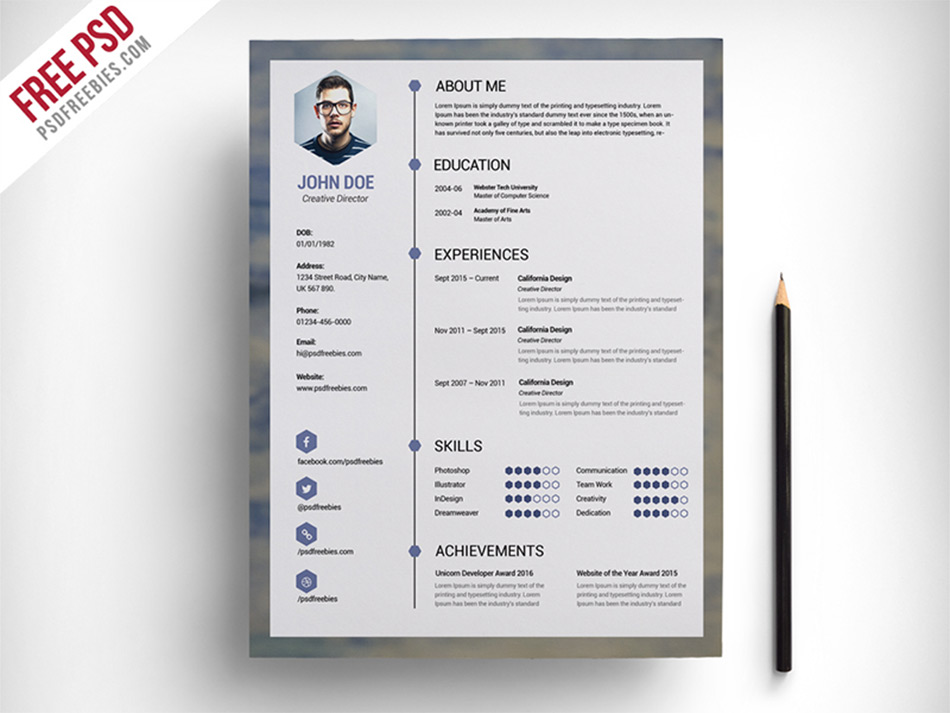 clean resume psd - Resume Free Download