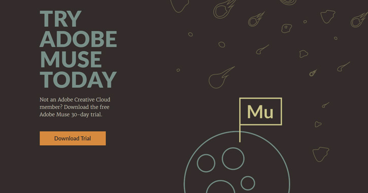 adobe muse application website landing page